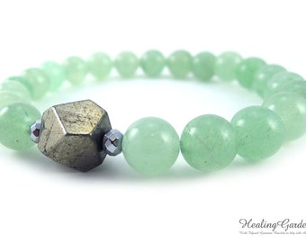 Pyrite and Green Aventurine Bracelet // Prosperity and Luck // Money // Healing Garden Shop