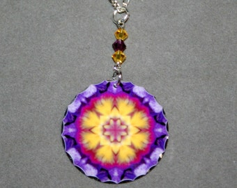 Mandala Pendant Charm Necklace Purple Pansy Sacred Geometry Boho Mod New Age Hippie Kaleidoscope Unique Gift for Her Endearing Memories