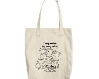 Compassion for every being - Vegan - Cotton Tote Bag