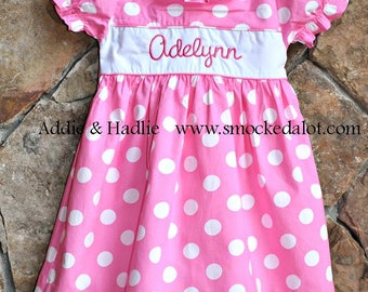 Girls Dress- Pink Polka Dot monogrammed with ruffles! by Smocked A Lot Birthday Minnie Mouse Disney