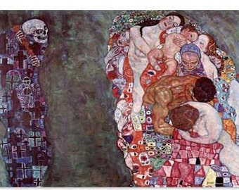 "Gustav Klimt Death And Life by Gustav Klimt Canvas Art Print (1100) 12""x8"""