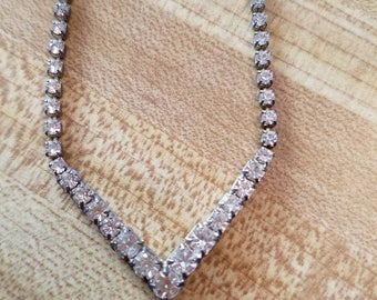 Vintage Silver Tone Clear Rhinestones Necklace 1950s Bride Bridal Something Old Point V