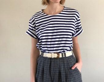 blue stripes vintage tee / striped t shirt / vintage cotton striped tee   s m l