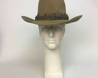 Vintage 1970s Cowboy Hat / High Crown Feather Banded Hippie Rodeo Western Hat / size 7 1/8