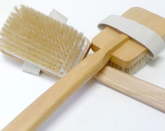Premium Boar Bristle Brush with 18 inch Wood Handle ~ Great for Dry Skin Brushing