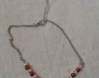 """anklet """"Infinity and red beads"""""""