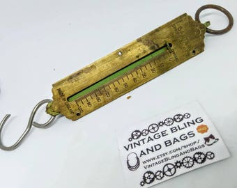 antique spring balance scales, 100g antique Brass scales, SALTER SPRING BALANCE scales, fishing scales, pocket scales, antique scales #1