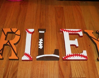 Custom Nursery Letters - Wooden Wall  Hanging Letters - Baby Name Letters- Nursery Letters Sports Theme -Nursery Decor- Baby Name Letters