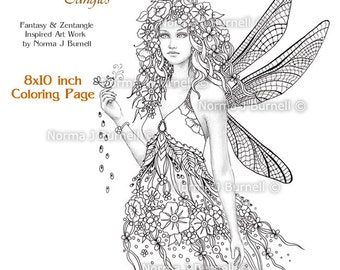 Dragonfly Fairy Tangles Printable Gray Scale Coloring Book Pages & Sheets by Norma J Burnell Digital Adult Coloring for Grownups Fairies