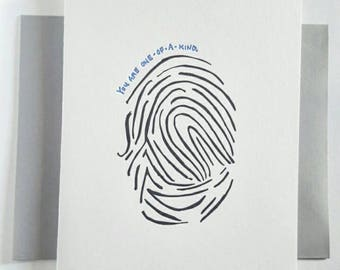 Letterpress Anytime Card- You are one-of-a-kind - Fingerprint