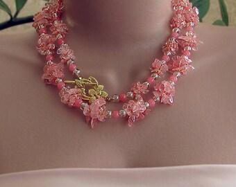 Cherry quartz necklace, cherry quartz two layer necklace, salmon pink necklace, pink bead necklace, cherry quartz stone necklace, pink beads