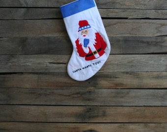 "Vintage Red, White, & Blue ""Santa Wants You"" Christmas Stocking"