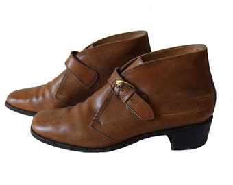 Vintage Brown Leather Buckled Ankle Boots Womens Size 7 N