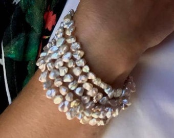 All Pure Nacre Long Pastel Keshi Pearl Bracelet or Necklace Rope Sterling Orbit Clasp Blue Pink Aqua Hand Knotted in USA Beaders Secret 39in
