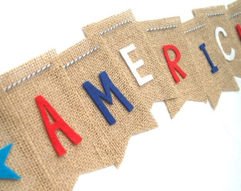 4th of July America Burlap Bunting on Khaki Burlap with Stars