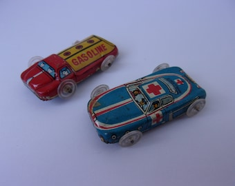 2 Small 1950s Tin Litho Toy Cars, Made in Japan Toy Car Ambulance and Gasoline Oil Toy Car Vehicle Tin Small Toy 50s Cars
