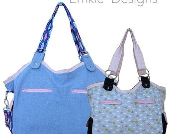 The Ingenious Tote - PDF Sewing Pattern - Instant download, Makes a great Nappy/Diaper bag pattern, Beach bag or Travel bag