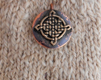 Shawl Pin copper with Bronze Celtic Knot