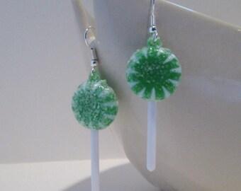 Bright Green Striped Lollipop Earrings Kawaii Candy
