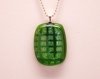 Green Dichroic Necklace, Original Fused Glass Necklace, Dichroic Glass Necklace, Iridescent Pendant, Necklace, Pendant, Dichroic Pendant