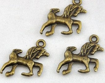 Horse charm---25pcs Antique Bronze Horse Charm Pendants---16*19mm-----G476