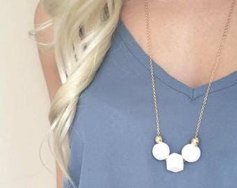 White & gold wooden bead necklace - Geometric Necklace
