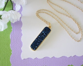 Blue Druzy Necklace, Crystal Necklace, Thin Druzy Pendant, Blue Druzy, Gold, Pendant, Natural, Natural Stone, DRZY22