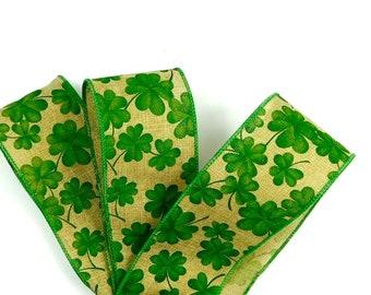 St. Patrick's Ribbon, Ribbon For St. Patrick's Day, Shamrock Ribbon, Ribbon With Shamrocks, Craft Ribbon, Florist Ribbon, Bow Ribbon