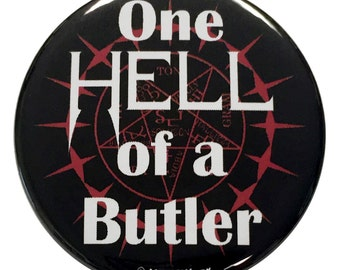 Black Anime 2.25 Inch Button: One Hell of a Butler