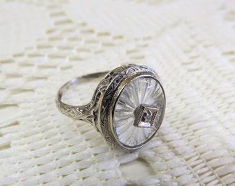 Antique Diamond Ring Art Deco Rock Crystal White Gold Filigree 14K, Estate Jewelry, Camphor Glass