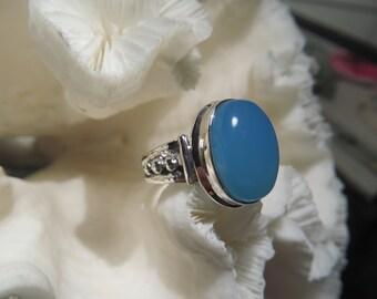Beautiful Aqua Chalcedony  Ring Size 8