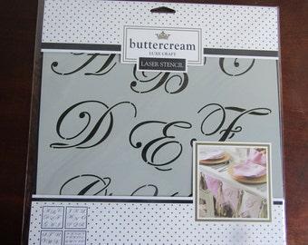Buttercream Luxe Craft LASER STENCIL, 2 Alphabet sizes, 4 PC 12 X 12 in. Brandnew!