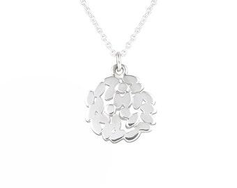 Silver laurel necklace, silver laurel pendant on fine chain
