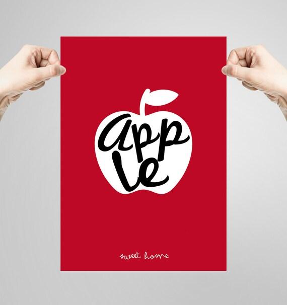 Wall art decor. Picture Apple. Printable art. Ilustration. Digital print. Instant digital download