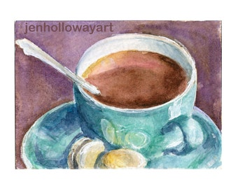 Watercolor Coffee Cup, Coffee Cup Print, Blue Cup of Coffee, Print, Coffee Art