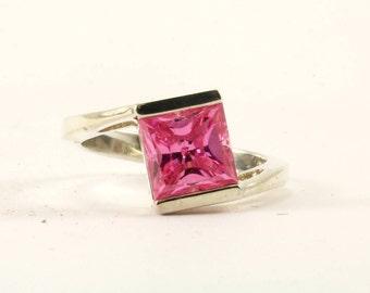 Vintage Pink Crystal Band Ring 925 Sterling RG 2988