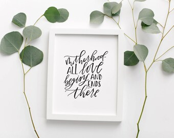 Motherhood Quote Calligraphy Poster • Mother's Day Gift •Motherhood Typography Print • Black and White Modern Farmhouse Handlettered Print