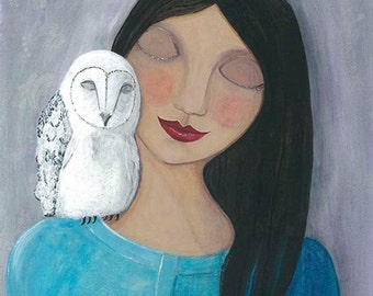 Folk Art Girl and Owl Print, White Owl Print, Peaceful Serene Art, Whimsical Artwork, Mixed Media Girl Wall Art
