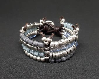 Unode50 inspiration bracelet, Boho Chic leather bangle Style