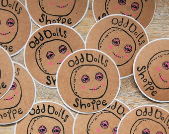 Odd Doll Stickers! Hand Printed!
