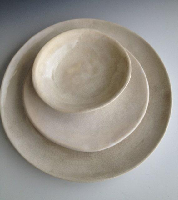 & Handmade ceramic plates dinnerware Wedding gifts Set of 3