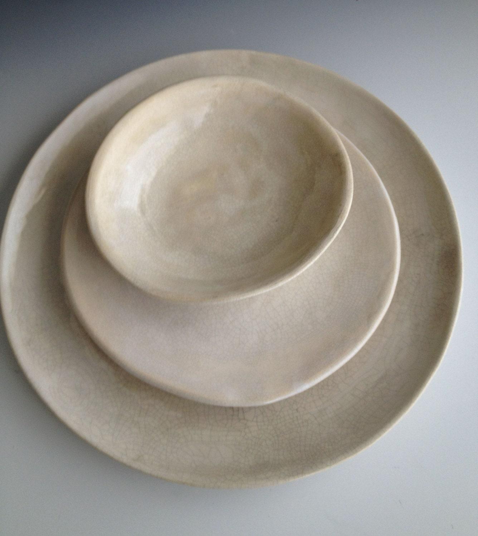 ?zoom & Handmade ceramic plates dinnerware Wedding gifts Set of 3