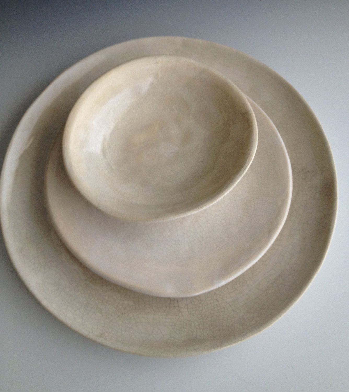 🔎zoom & Handmade ceramic plates dinnerware Wedding gifts Set of 3