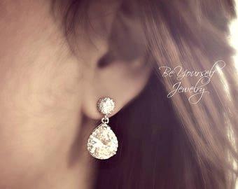 White Crystal Wedding Earrings Teardrop Bridal Earrings Cubic Zirconia Bride Earrings Bridesmaid Gift CZ Wedding Jewelry Sterling Earrings