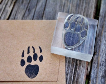 Bear Paw Stamp #3 - 1 x 1 inches - Bear Paw Rubber Stamp