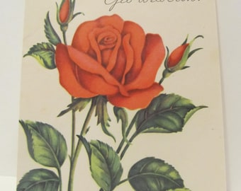 Please, Get Well Soon! Red Roses, Get Well Greeting Cards, Recycled Cards, Second Use, with Envelope, FREE Shipping