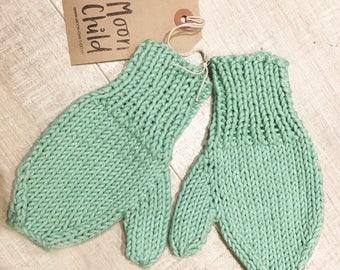 Mint Green Cotton Knitted Moon Child Kids Mittens