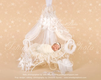 Digital backdrop - White iron bed chair with stars - Beautiful Digital background for Newborn Photography - Props download