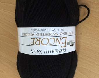 Encore Yarn by Plymouth, Color Black  # 217,  100gm Ball, Worsted Weight, Baby Yarn, Newer Yarn, Wool Blend, True Black, Soft, Superwash