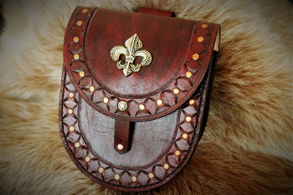 "Satchel medieval Belt pouch purse mixed ""Fleur de lys"" tooled leather"